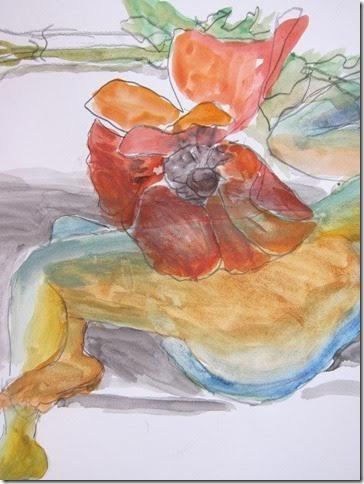 Woman and Poppy – Roslyn Fassett – pencil and watercolor on paper.